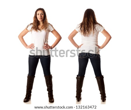 Casual young woman front and back. Studio shot over white. - stock photo