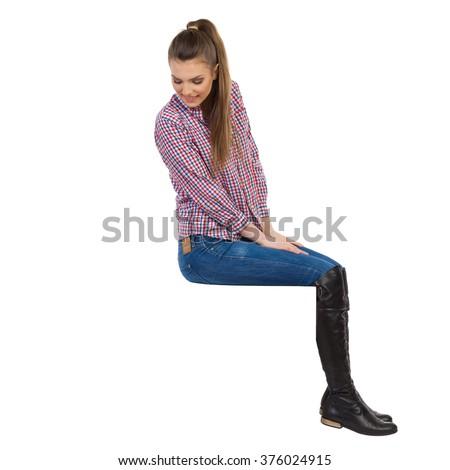 casual young woman lumberjack shirt jeans stock photo