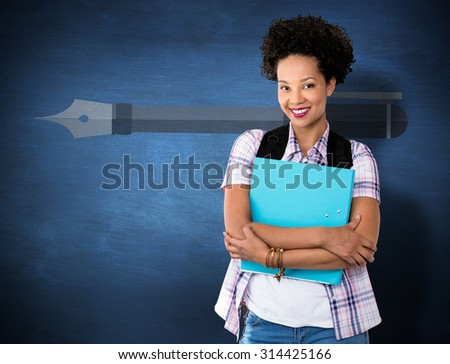 Casual young woman with folder in office against blue chalkboard