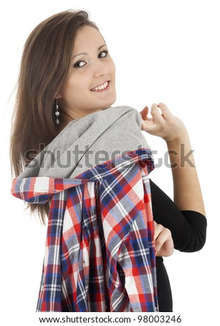 casual young woman with sewatshirt, white background - stock photo