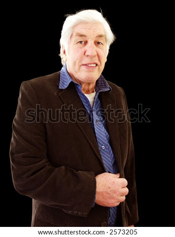 Casually dressed old man enjoying his retirement - stock photo