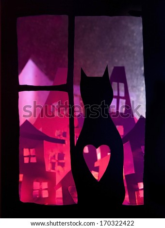 Cat and window - stock photo