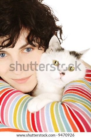 cat animal woman young girl beauty love lovely pet - stock photo