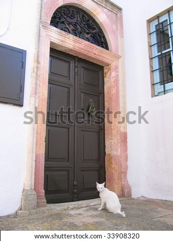 cat at door of old greek house - stock photo