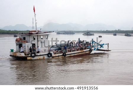 CAT BA, VIET NAM, June 10, 2016 tourists take the ferry Dinh Vu, to the Bay Cat Ba, Hai Phong City, Vietnam