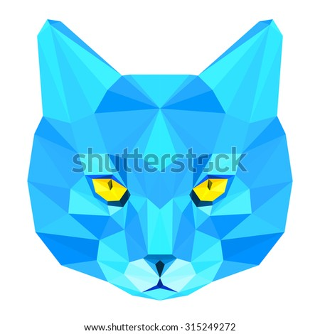 Cat. Blue cat. Abstract cat. Cat icon. Cat. Polygonal cat. Cat. Geometric cat. Cat portrait. Abstract cat. Cat. Graphic cat. Cat gaze. Cat icon. Isolated cat. Cat. Cat icon. Cat icon. Cat. Raster copy - stock photo
