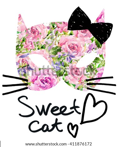 Cat. Cute cat. Watercolor Cat illustration/ Birthday card. T-shirt  print. Greeting card. Pet  illustration. Poster illustration. Kitten.  - stock photo