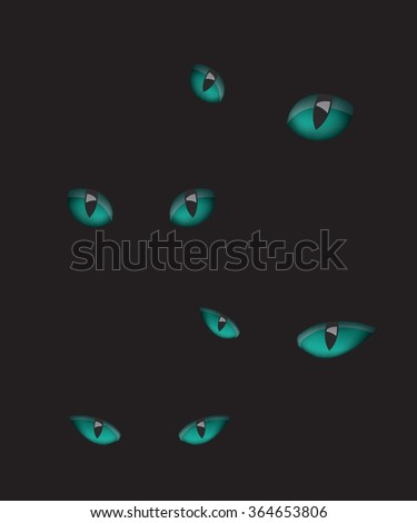 Cat eyes illustration in the dark - stock photo
