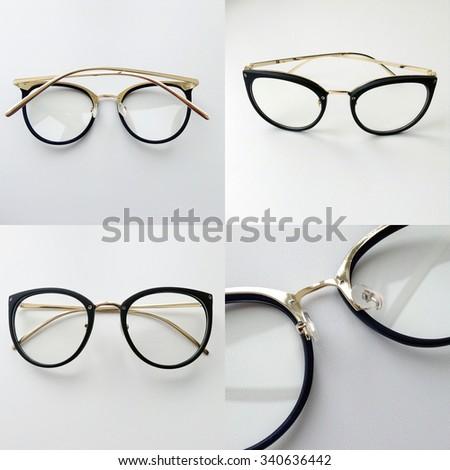 Cat eyes shaped retro glasses on white background - stock photo
