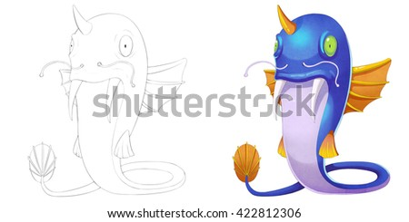 Cat Fish Creature with Wings. Coloring Book, Outline Sketch, Monster Mascot Character Design isolated on White Background  - stock photo