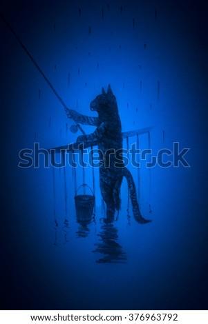 Cat fishing on the fishing rod - stock photo