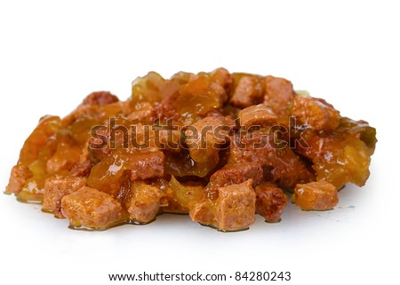 Cat food closeup isolated on white