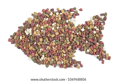 cat food, fish shaped on white - stock photo