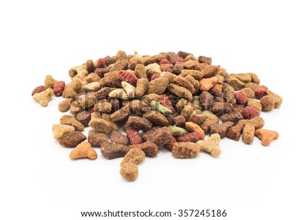 Cat Food, granules, isolated on white. - stock photo