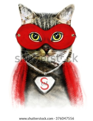 Cat illustration/superhero cat/watercolor cat/cat poster/T-shirt graphics/Funny cat/cat sticker/pet shop/cat print/cat pattern/animal print/cartoon character/tabby cat/post card/cat drawing/cat art - stock photo