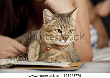 Cat in bed with woman and book - stock photo