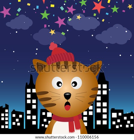 Cat in the city at night - stock photo