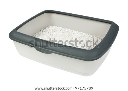 Cat litter box isolated on white. - stock photo