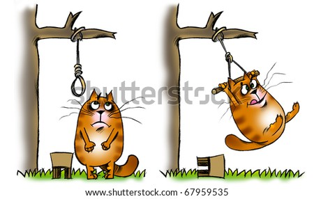 Cat near a tree with a gibbet - stock photo