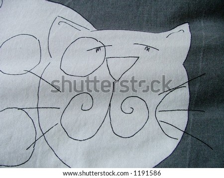 cat on the fabric - stock photo