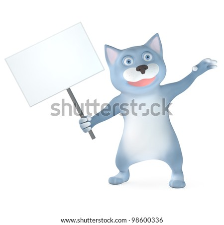 Cat paw holds banner isolated on white - stock photo