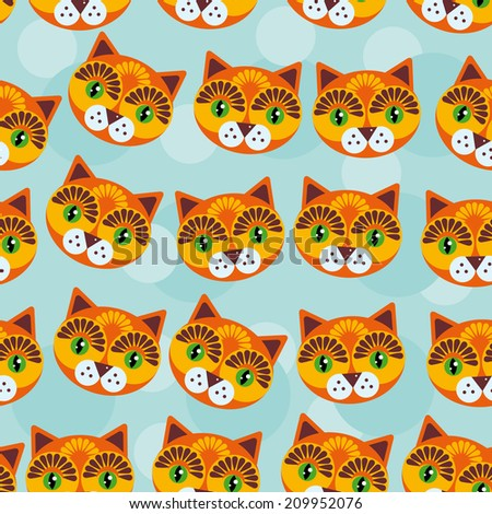 Cat Seamless pattern with funny cute animal face on a blue background.  - stock photo