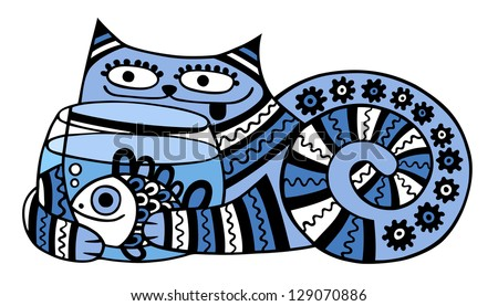 cat with aquarium - stock photo