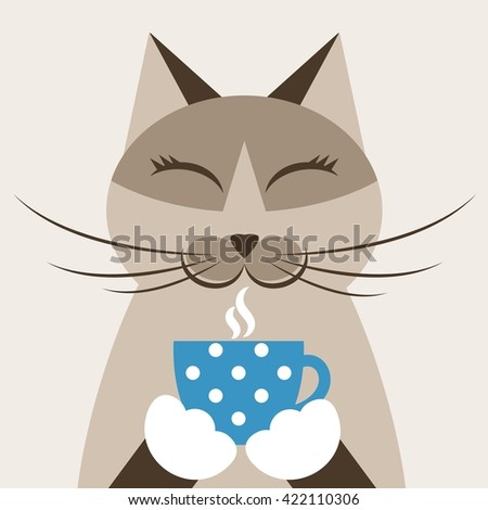 Cat with cup of tea. Raster version - stock photo