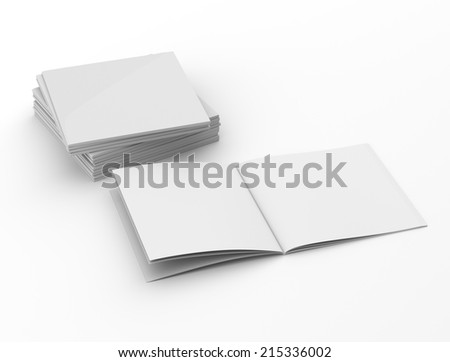 catalogs or magazines in a pile. Square format - stock photo
