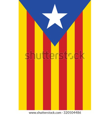 Catalonia flag raster isolated. Red, yellow and blue with white star. Autonomy. Spain. - stock photo