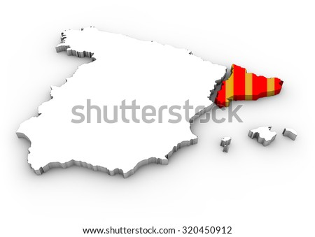 catalonia independence concept: digital generated map of spain with separated catalonia with flag colors - stock photo
