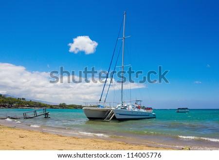 Catamaran at Waikoloa Beach, Big Island, Hawaii - stock photo