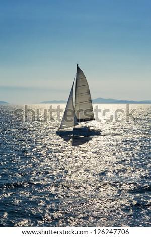 Catamaran on Adriatic Sea, Croatia, Split - stock photo