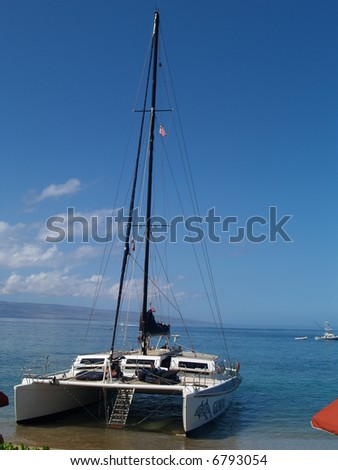catamaran on the shore