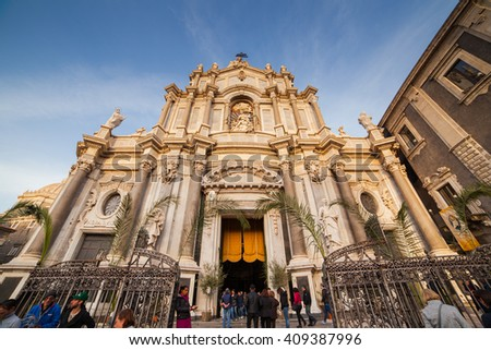 CATANIA, ITALY - MARCH, 31: View of Catania cathedral in Sicily on March 31, 2016 - stock photo