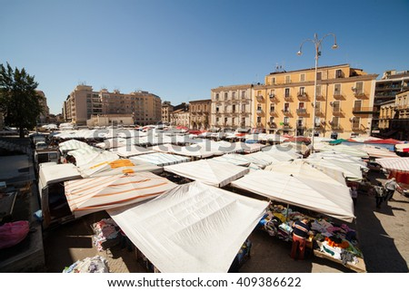 CATANIA, ITALY - MARCH, 31: View of open market called fera �² Luni on March 31, 2016 - stock photo