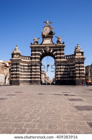 CATANIA, ITALY - MARCH, 31: View of the Giuseppe Garibaldi triumphal arch on March 31, 2016 - stock photo