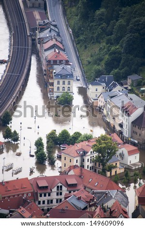 Catastrophic and damaging flood of Elbe river in Germany, houses and streets underwater