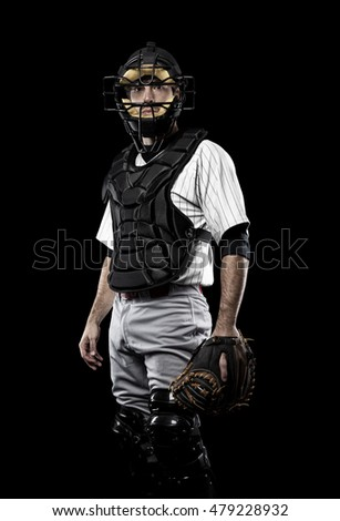Catcher Player with a white uniform on a black background.