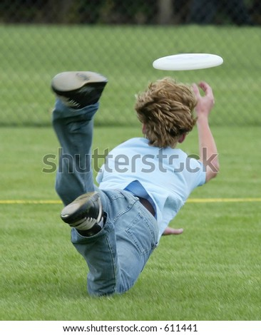 catching the frisbee - stock photo