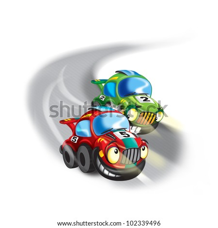 catching up with another car - stock photo