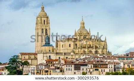 Catedral de Santa Maria de Segovia in the historic city of Segovia, Castilla y Leon, Spain - stock photo