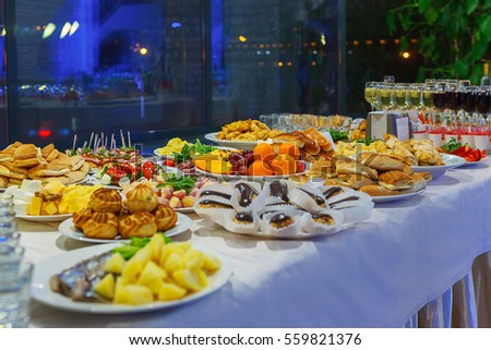 Catering banquet table canapes sandwiches snacks stock for Canape catering singapore