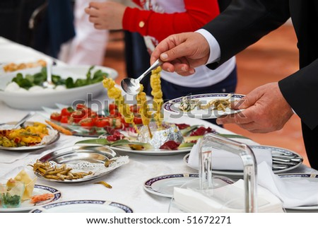 Catering buffet food in a luxury italian restaurant - stock photo