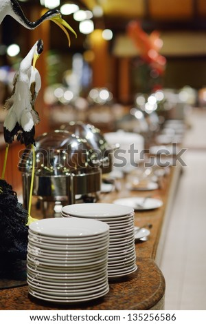 catering buffet food indoor in luxury restaurant with meat colorful fruits  and vegetables - stock photo