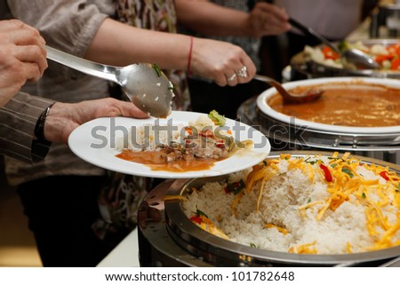 Catering - food, plate and hand