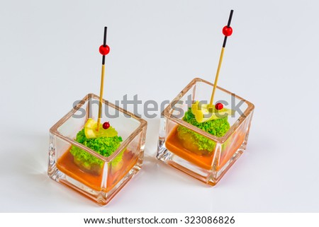 Catering food served for a party. The tasty appetizers in glass - stock photo