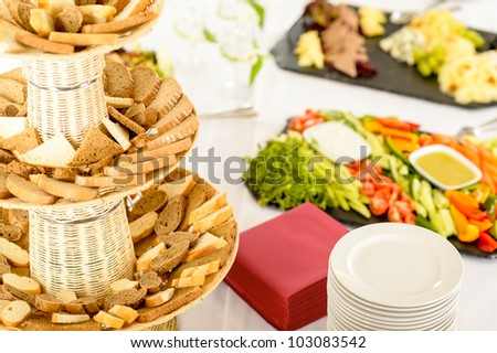 Catering service food buffet selection on white tablecloth - stock photo