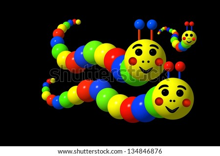 Caterpillars family in primary colors against a black background. - stock photo