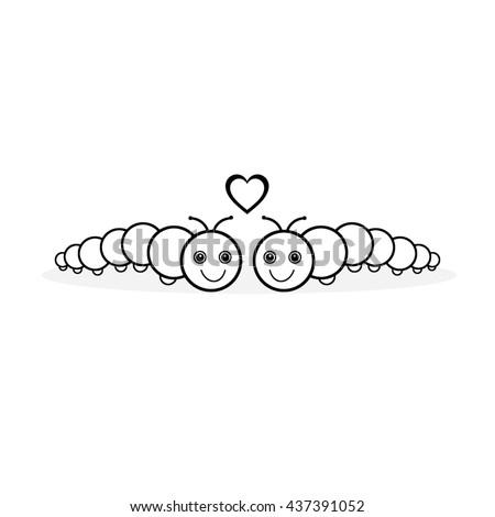 Caterpillars - heart - stock photo